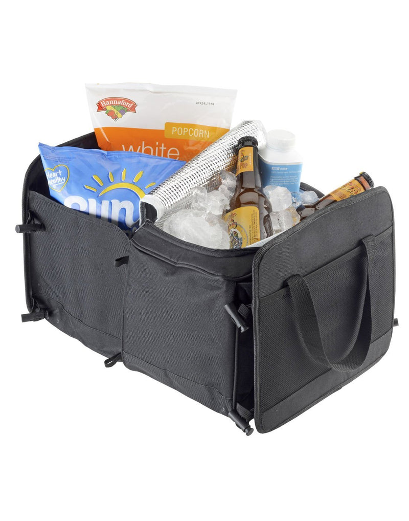 High road 3-in-1 cargo cooler tote black colour two sections extended and filled groceries and cooler corner view