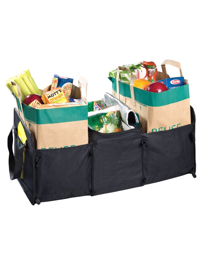High road 3-in-1 cargo cooler tote black colour fully extended and filled with groceries front view