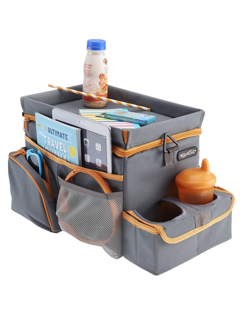 High road carhop™ back seat organizer with insulated cooler with accessories corner view