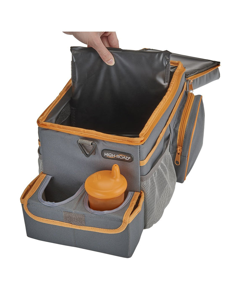 High road carhop™ back seat organizer with insulated cooler removable separator in cooler section interior view