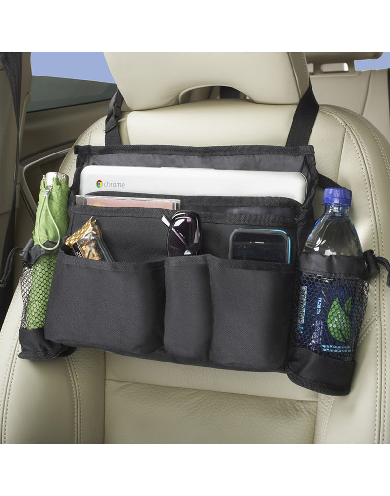 High Road SwingAway Car Seat Organizer on display swung around and hanging from front of head rest in a vehicle - filled with an umbrella, bottle of water, sunglasses, snack, cell phone and tablet