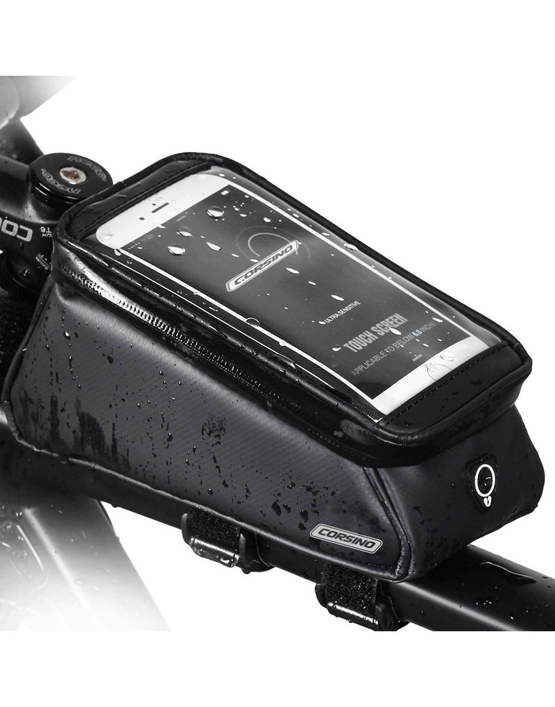 Corsino compass top tube bag - black colour top transparent pocket for mobile display top corner view