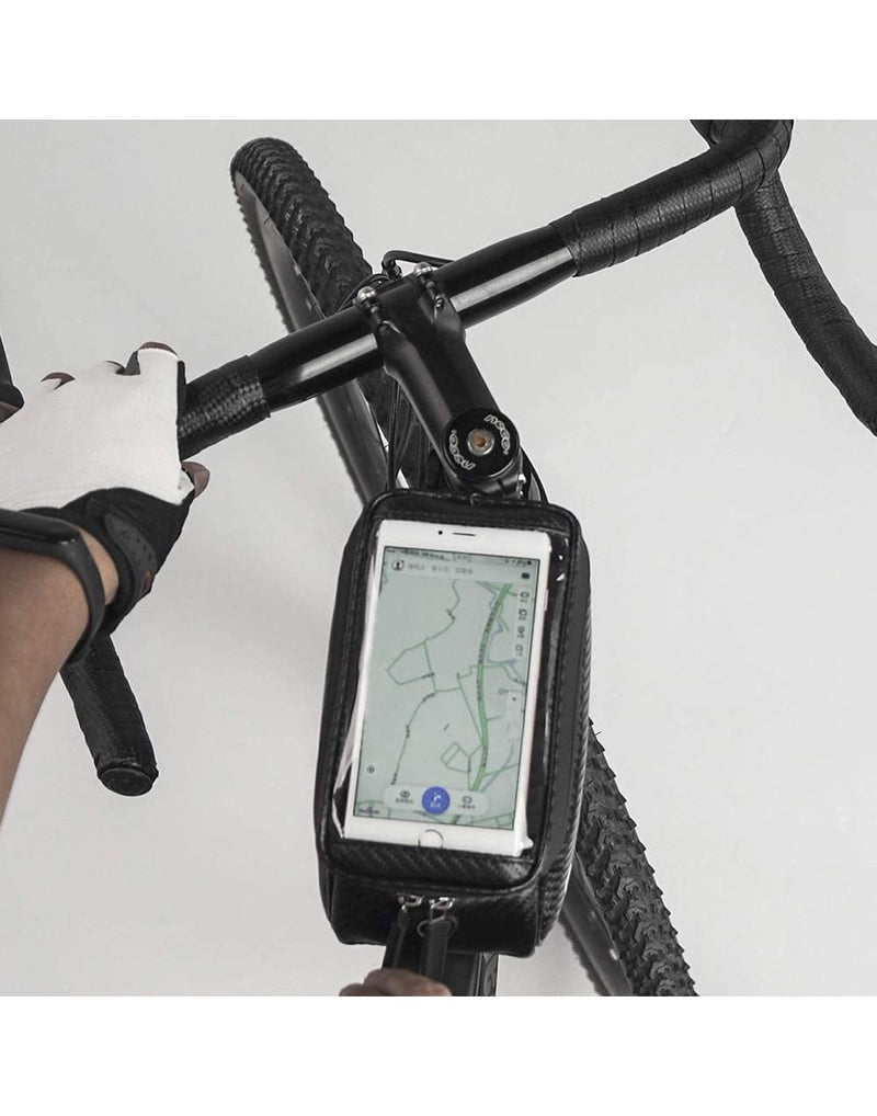 Corsino compass top tube bag - black colour top transparent pocket for mobile display top view