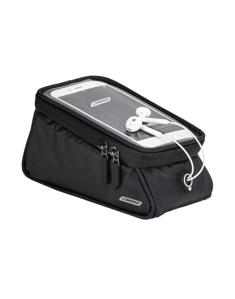 Corsino compass top tube bag - black colour with phone and headphones on display corner view