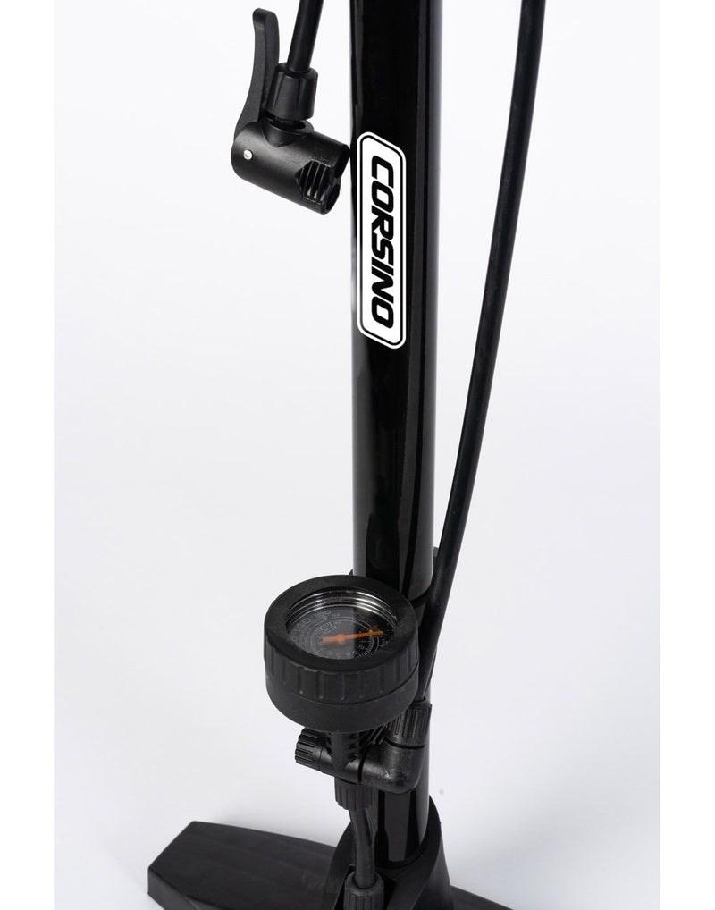 Corsino bike floor pump black colour close up of pressure gauge