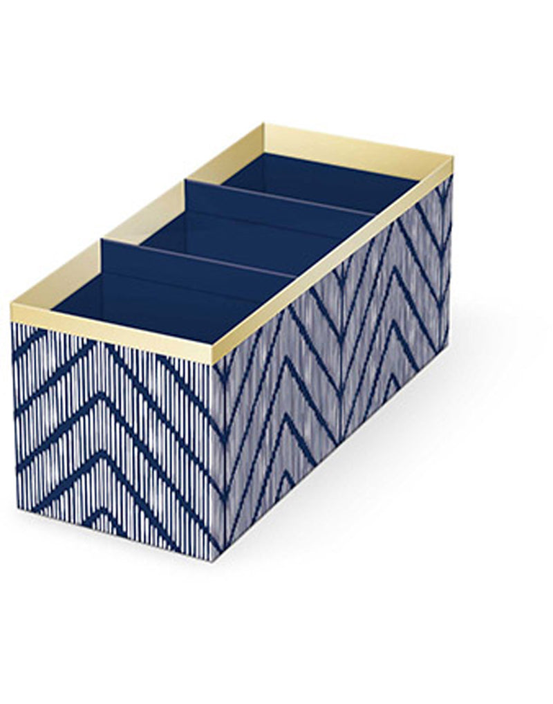 Lady Jayne Indigo Desk Organizer Pencil Cup - blue and white chevron design with gold trim