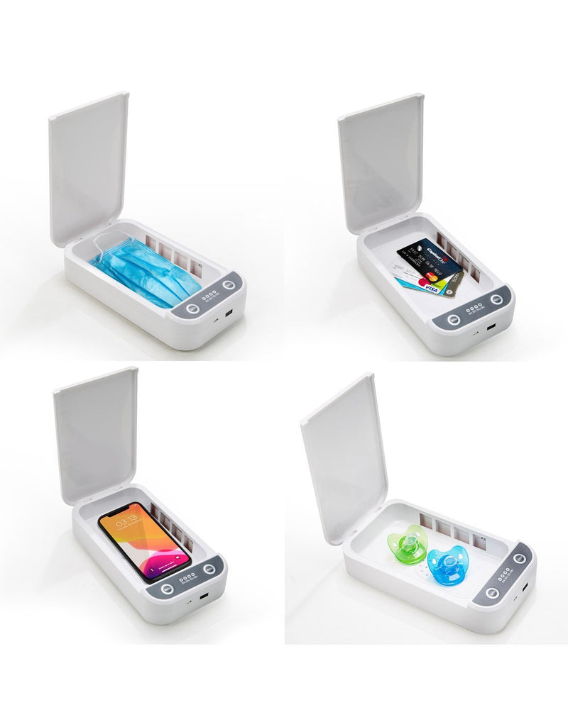 You can use travelon portable UV sanitizer box for mask, phone, credit cards, earbuds