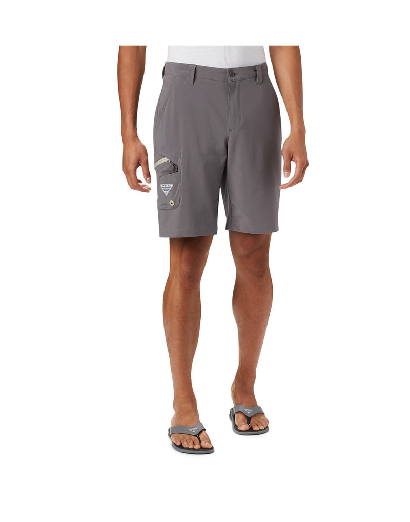 Columbia men's pfg terminal tackle™ short grey colour front view