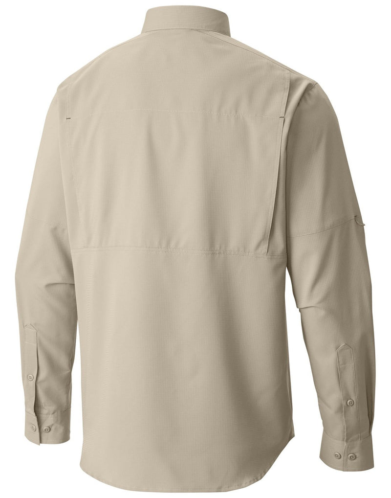 Columbia men's long sleeve shirt fossil colour back view
