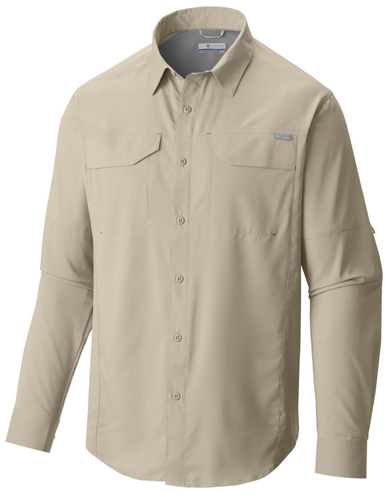 Columbia men's long sleeve shirt fossil colour front view