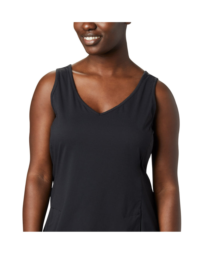 Close up of woman wearing Columbia Women's Anytime Casual™ III Dress - black, front view, showing v-neck line