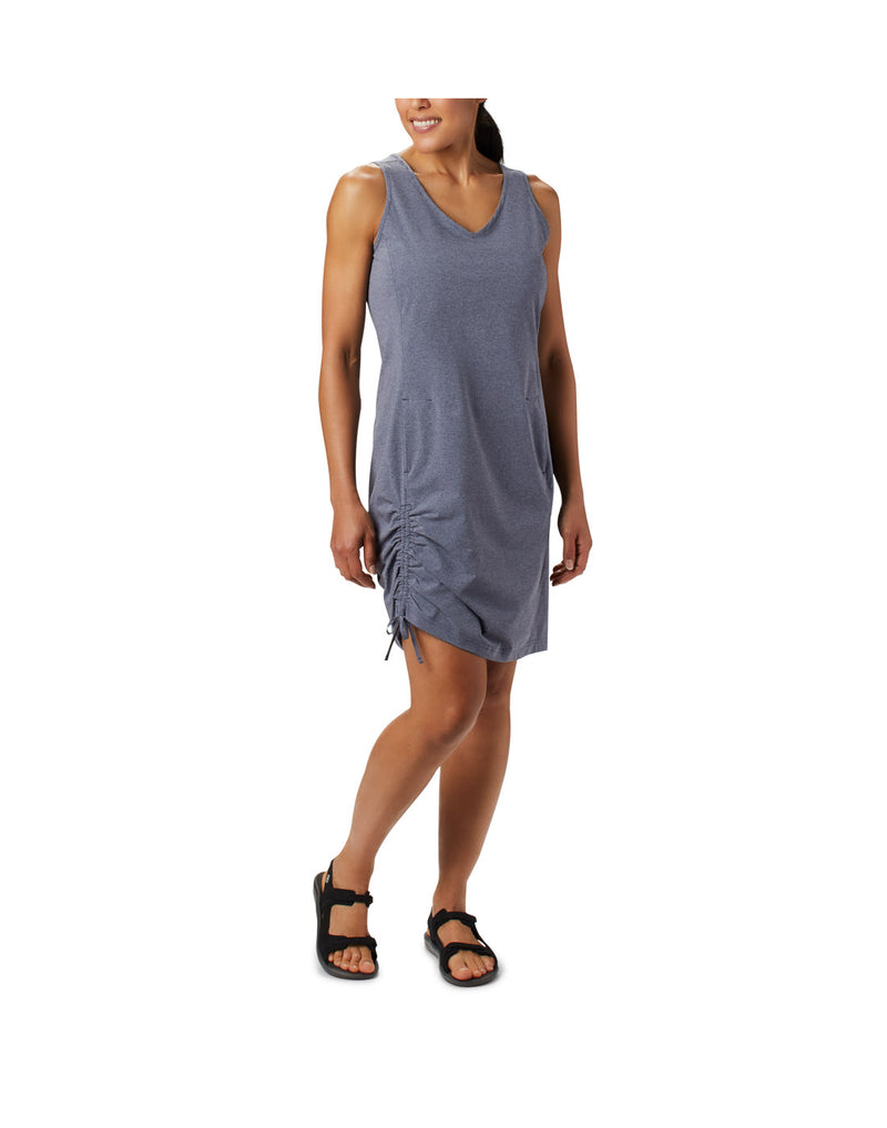 Woman wearing Columbia Women's Anytime Casual™ III Dress - nocturnal heather, front view