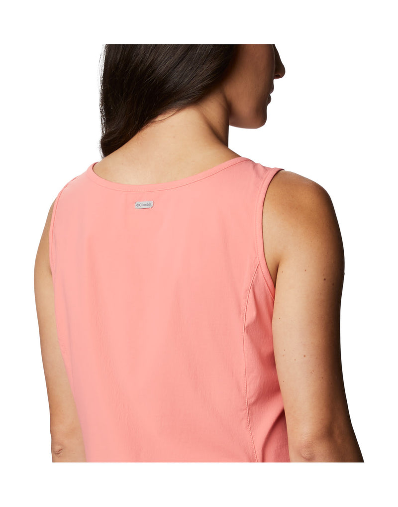 Close up of woman wearing Columbia Women's Anytime Casual™ III Dress - salmon, back view