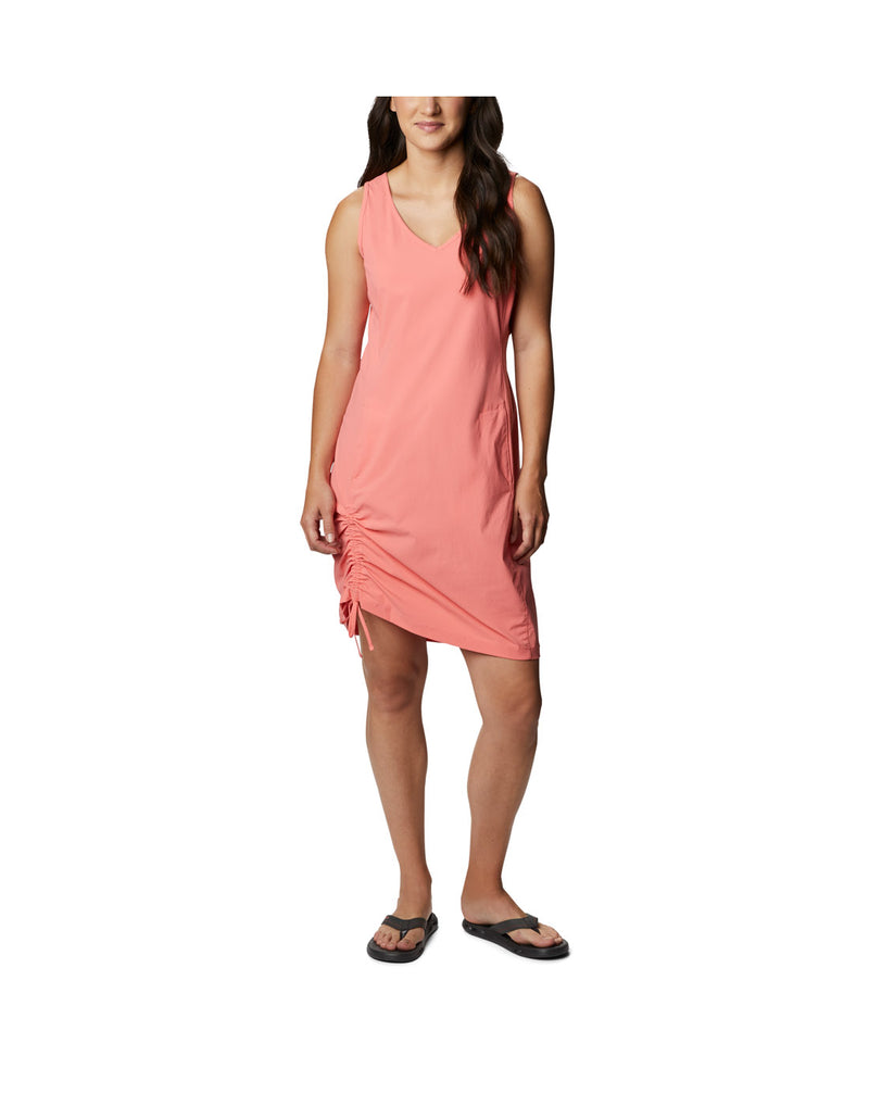 Woman wearing Columbia Women's Anytime Casual™ III Dress - salmon, front view