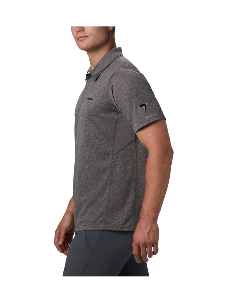 Men wearing city grey colour columbia men's irico knit polo left side view