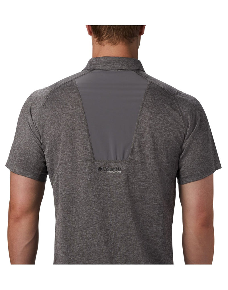 Men wearing city grey colour columbia men's irico knit polo back close up view