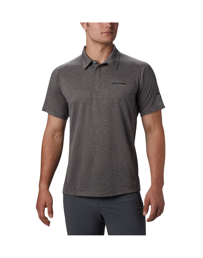 Men wearing city grey colour columbia men's irico knit polo front view