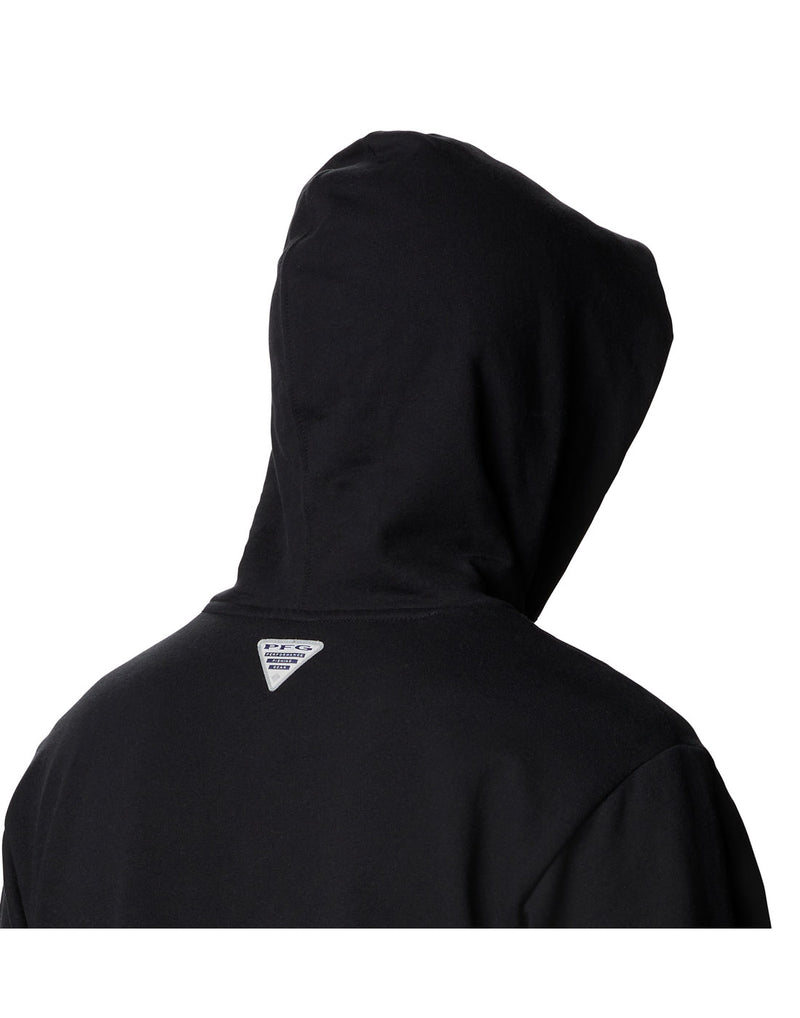 Model wearing Columbia Men's PFG Fish Flag™ Hoodie - black, close up of back with hood up