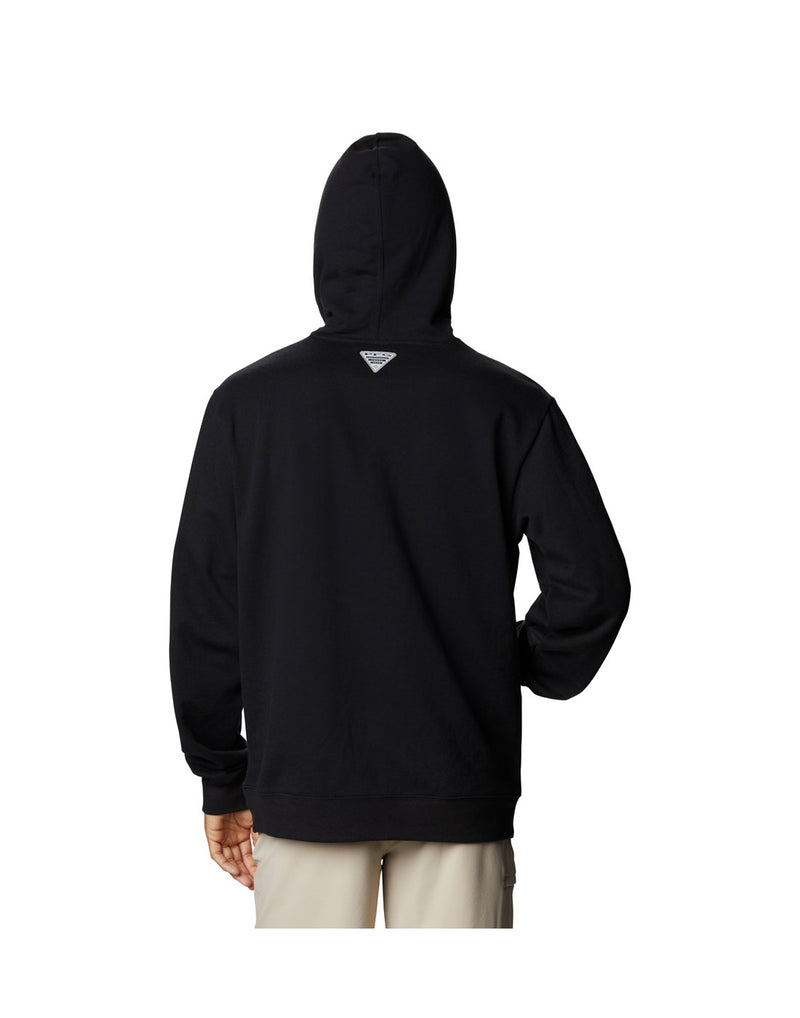 Model wearing Columbia Men's PFG Fish Flag™ Hoodie - black, back view with hood up