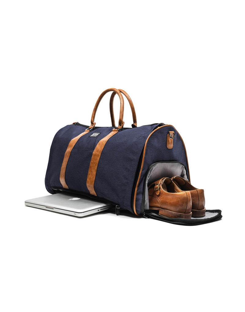 PKG Rosedale II Duffle Garment Bag - navy, front right view with shoes and laptop