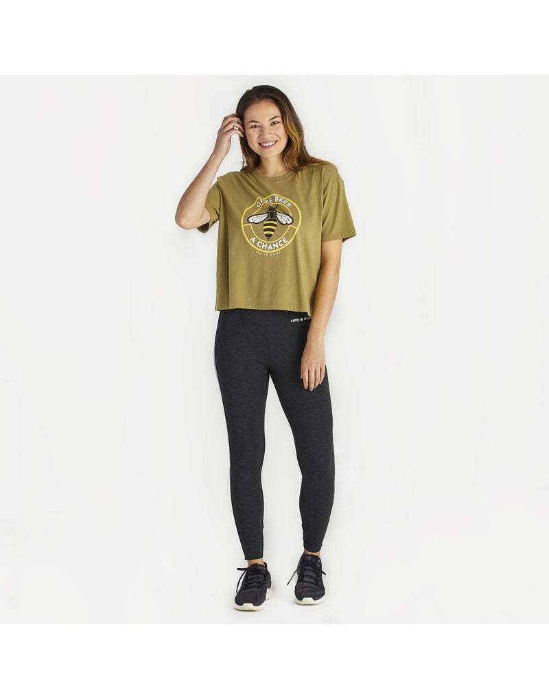 Women wearing life is good women's high-rise legging front view