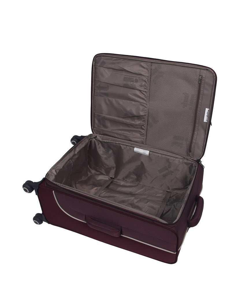 "It encircle 31"" spinner wine red colour luggage bag interior"