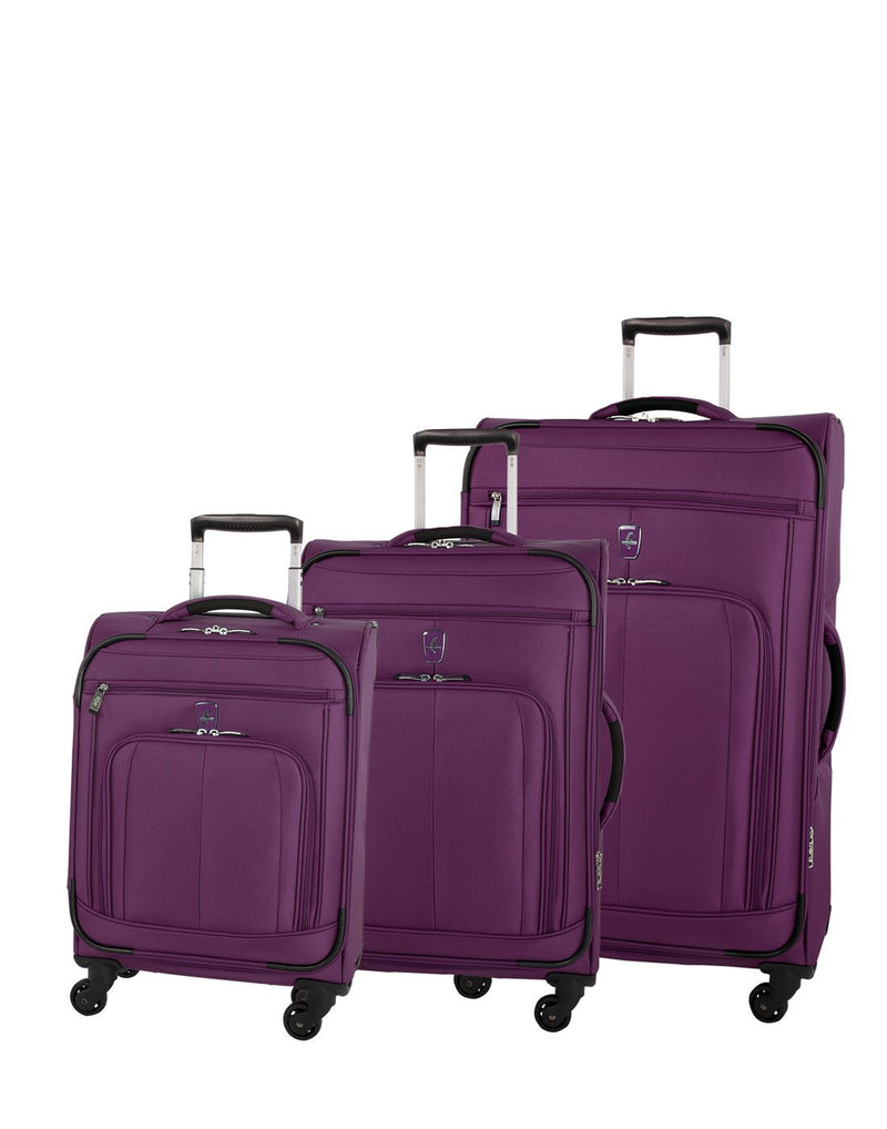 Atlantic solstice 3 piece spinner purple colour luggage set group