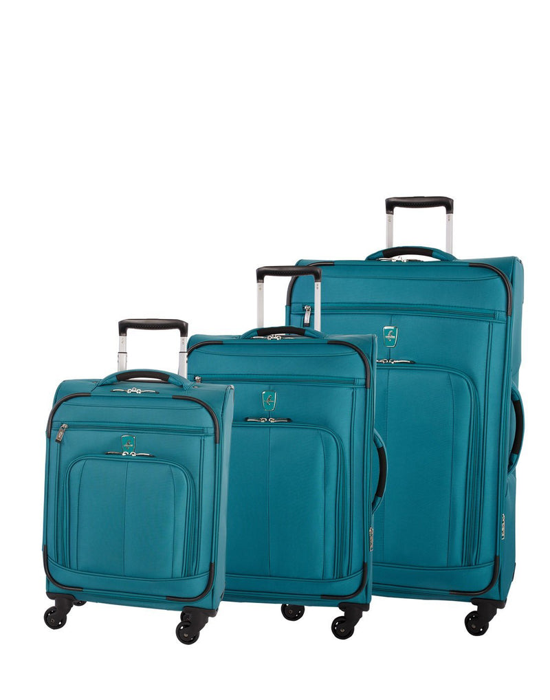 Atlantic solstice 3 piece spinner teal colour luggage set group