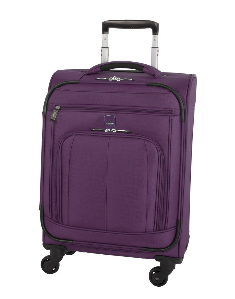 Atlantic solstice 3 piece spinner purple colour luggage set front view