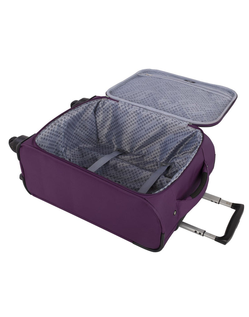 Atlantic solstice 3 piece spinner purple colour luggage set inside view with opened handle