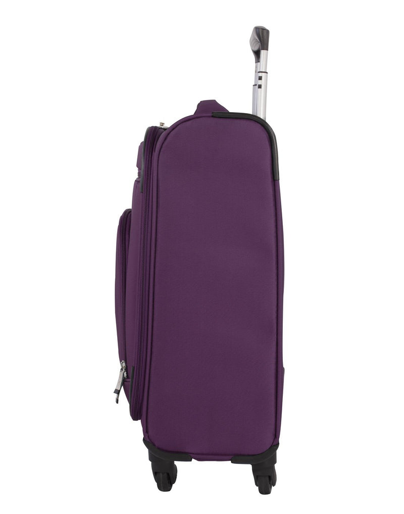 Atlantic solstice 3 piece spinner purple colour luggage set right side view