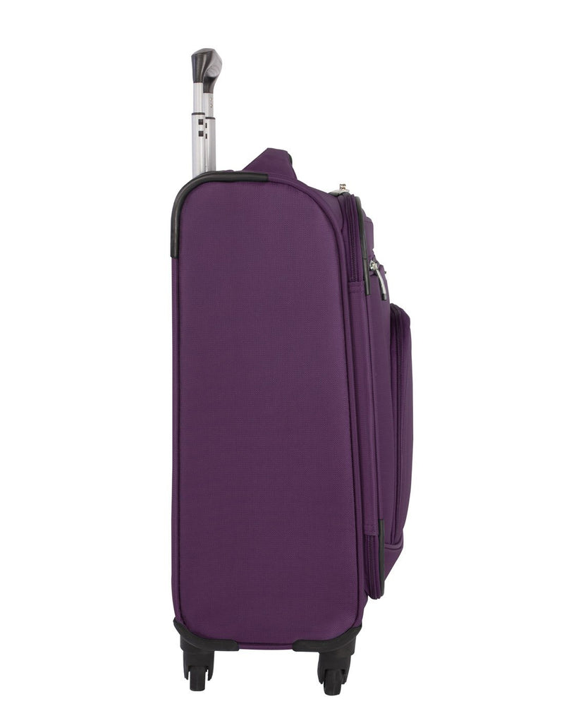 Atlantic solstice 3 piece spinner purple colour luggage set left side view