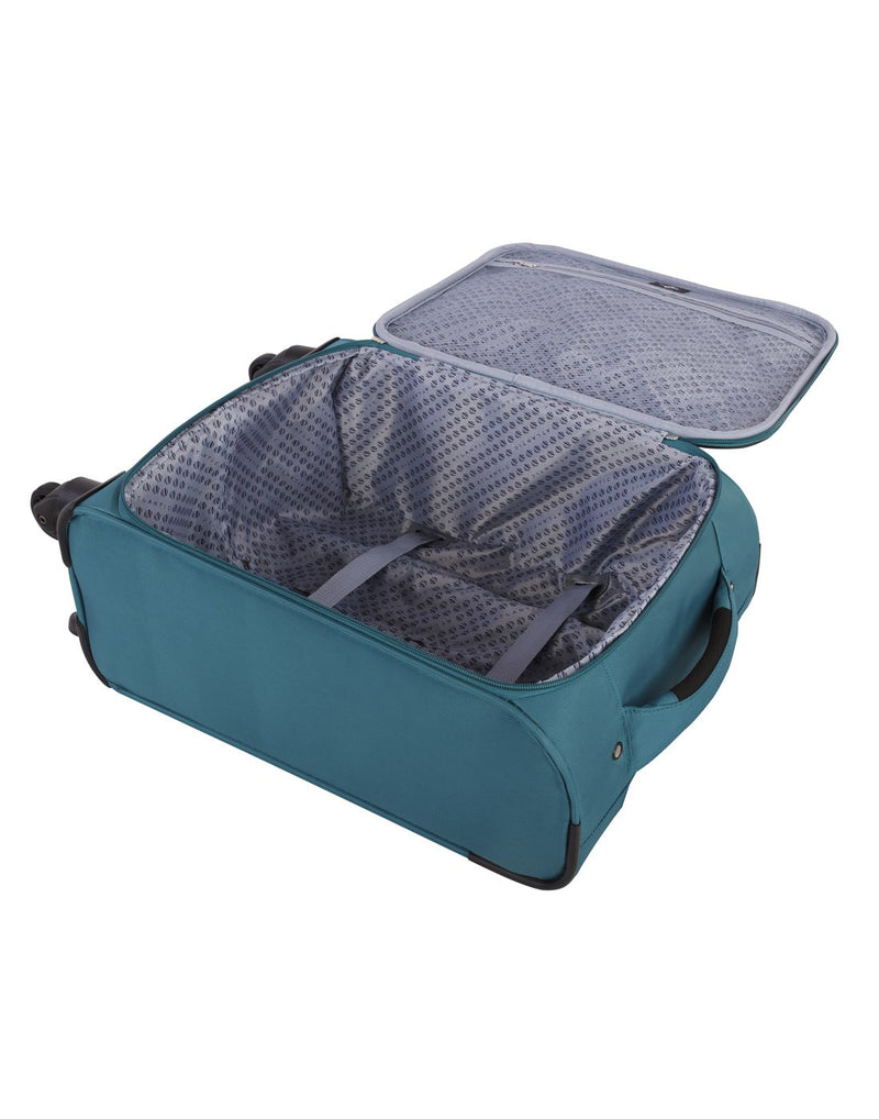 Atlantic solstice 3 piece spinner teal colour luggage set inside view