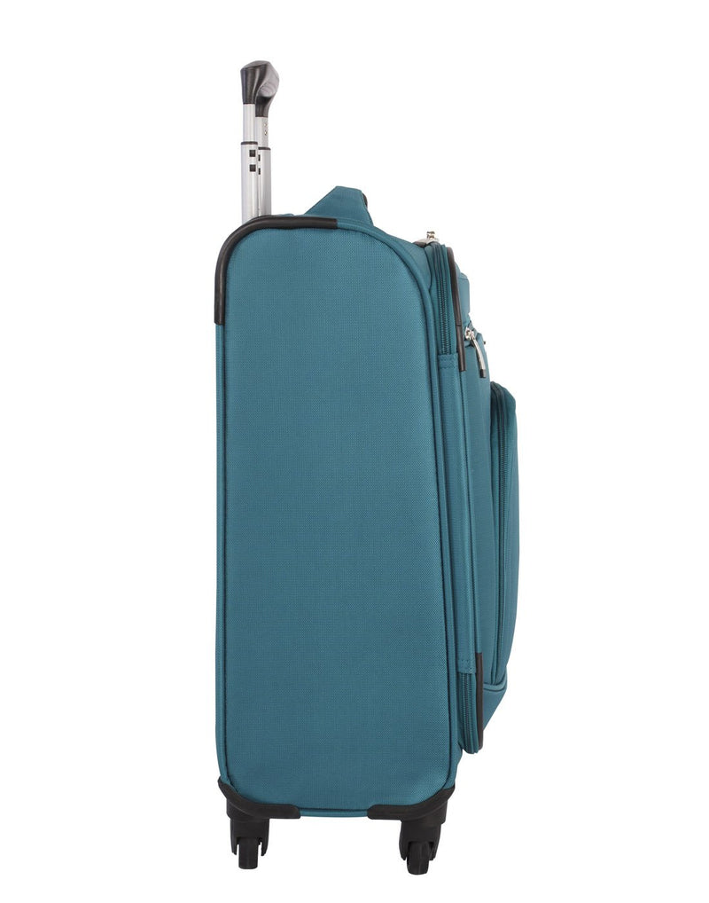 Atlantic solstice 3 piece spinner teal colour luggage set left side view