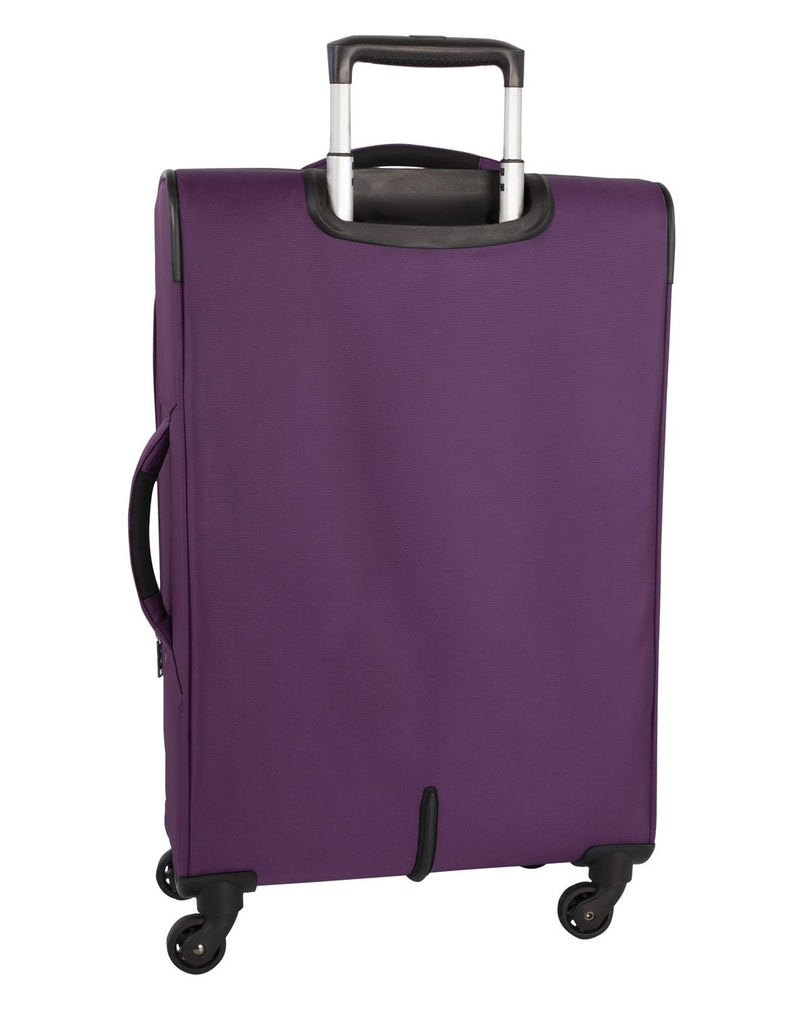 Atlantic solstice 3 piece spinner purple colour luggage set back view with side handle