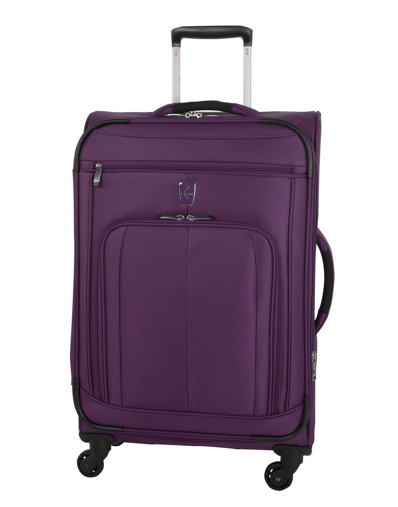 Atlantic solstice 3 piece spinner purple colour luggage set front view with side handle