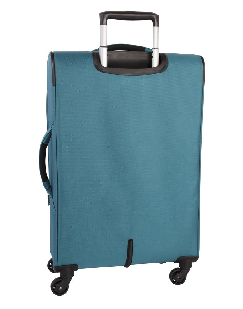 Atlantic solstice 3 piece spinner teal colour luggage set back view with opened side handle