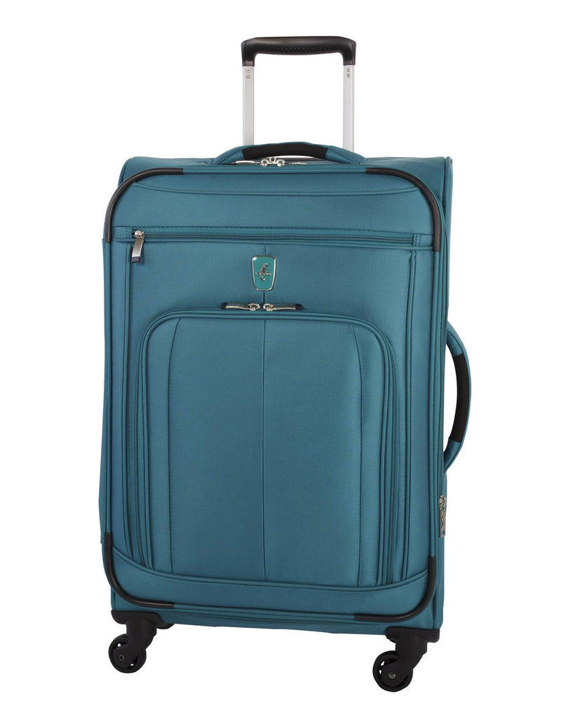 Atlantic solstice 3 piece spinner teal colour luggage set opened side handle front view
