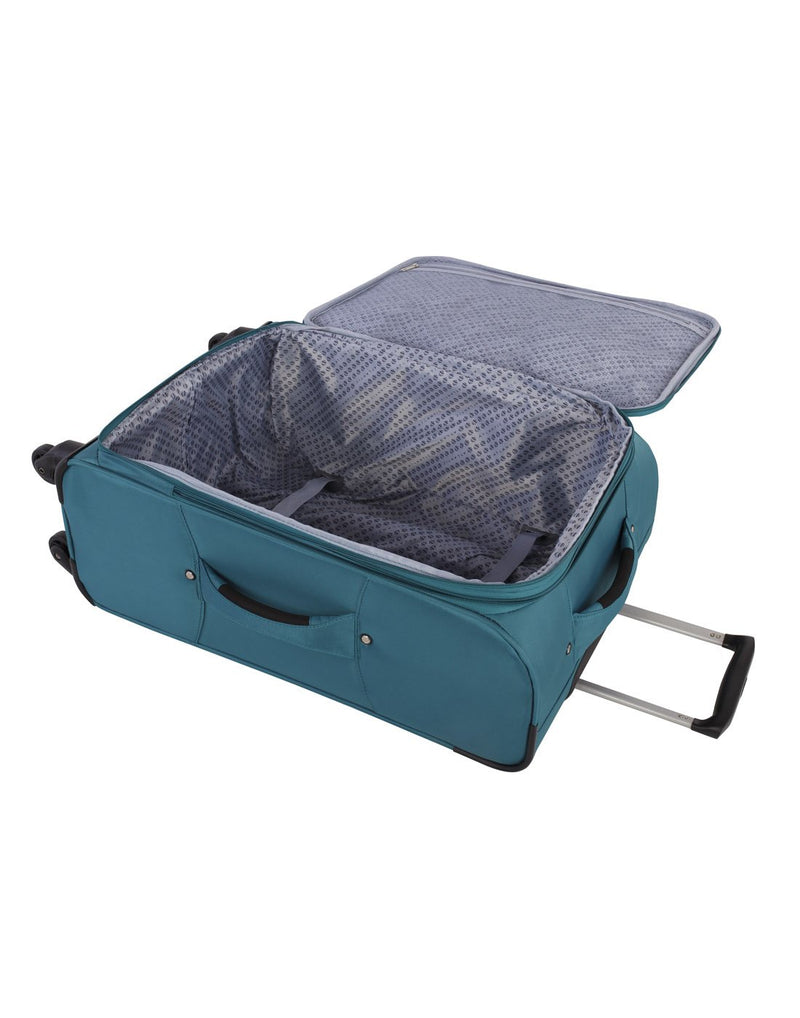 Atlantic solstice 3 piece spinner luggage set teal colour inside view with opened handle