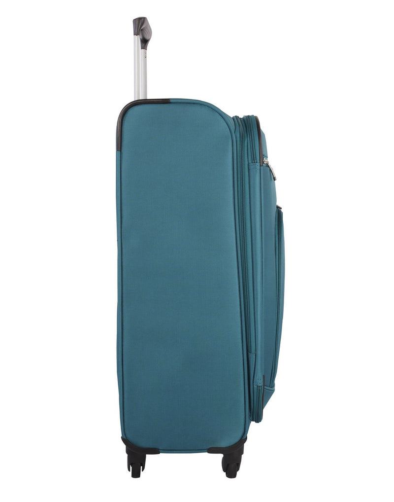 Atlantic solstice 3 piece spinner teal colour luggage set left side view with opened handle