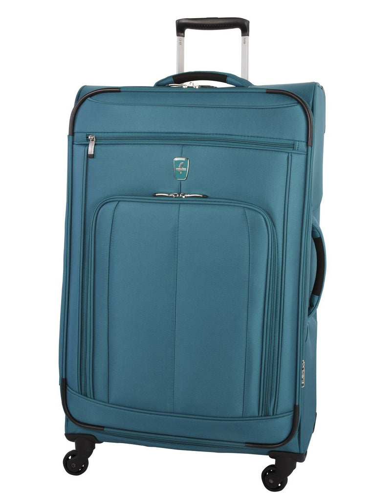 Atlantic solstice 3 piece spinner luggage set teal colour front view with opened handle