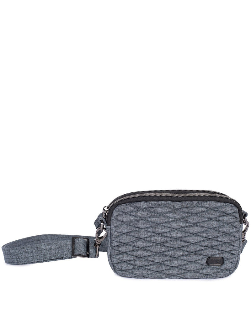 Lug coupe heather grey colour convertible crossbody and hip pouch front view