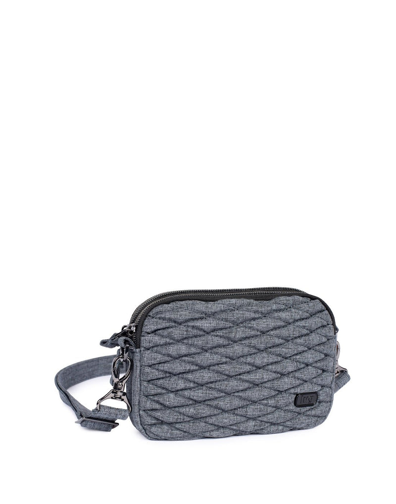 Lug coupe heather grey colour convertible crossbody and hip pouch corner view