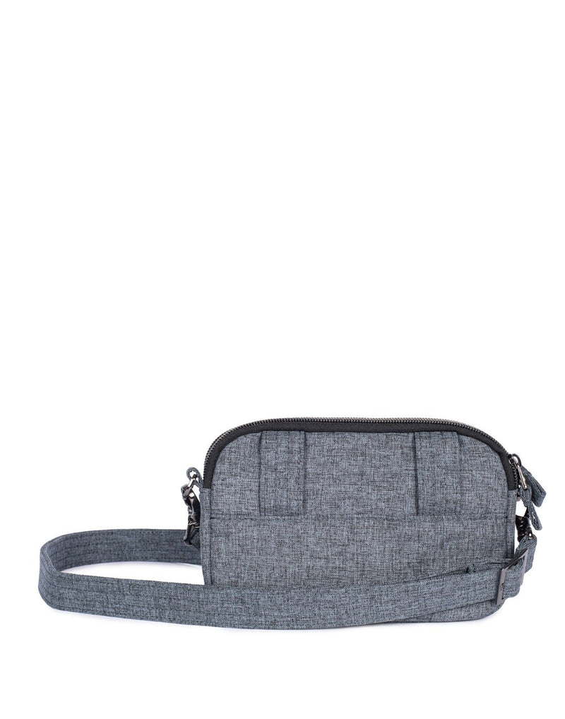 Lug coupe heather grey colour convertible crossbody and hip pouch back view