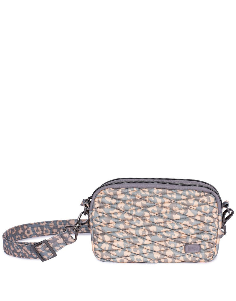 Lug coupe leopard pearl design convertible crossbody and hip pouch front view