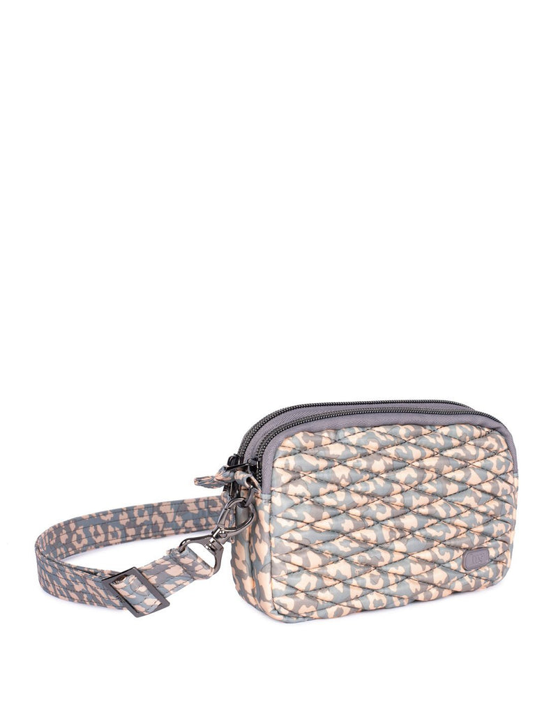 Lug coupe leopard pearl design convertible crossbody and hip pouch cross view