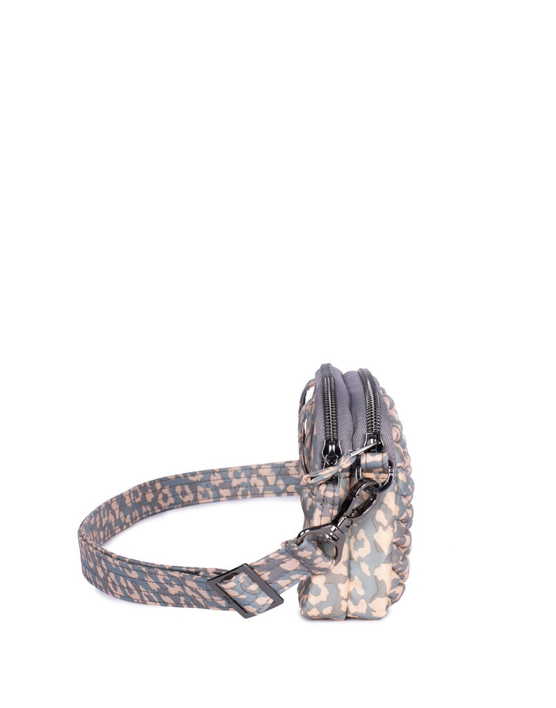 Lug coupe leopard pearl design convertible crossbody and hip pouch side view