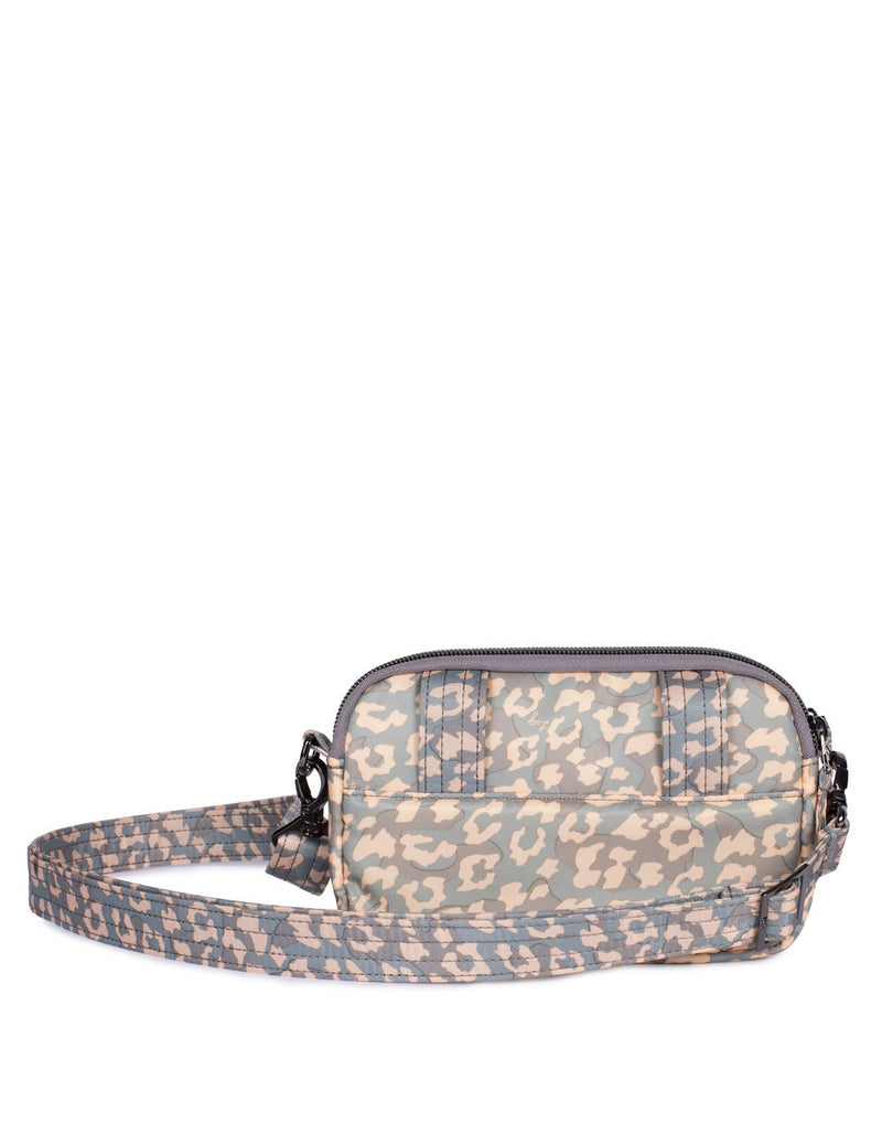 Lug coupe leopard pearl design convertible crossbody and hip pouch back view