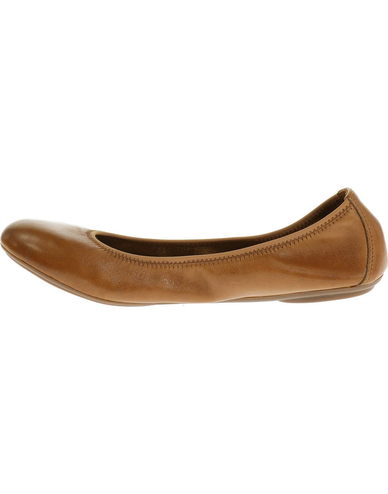 Hush puppies women's leather shoe cognac leather colour left side view