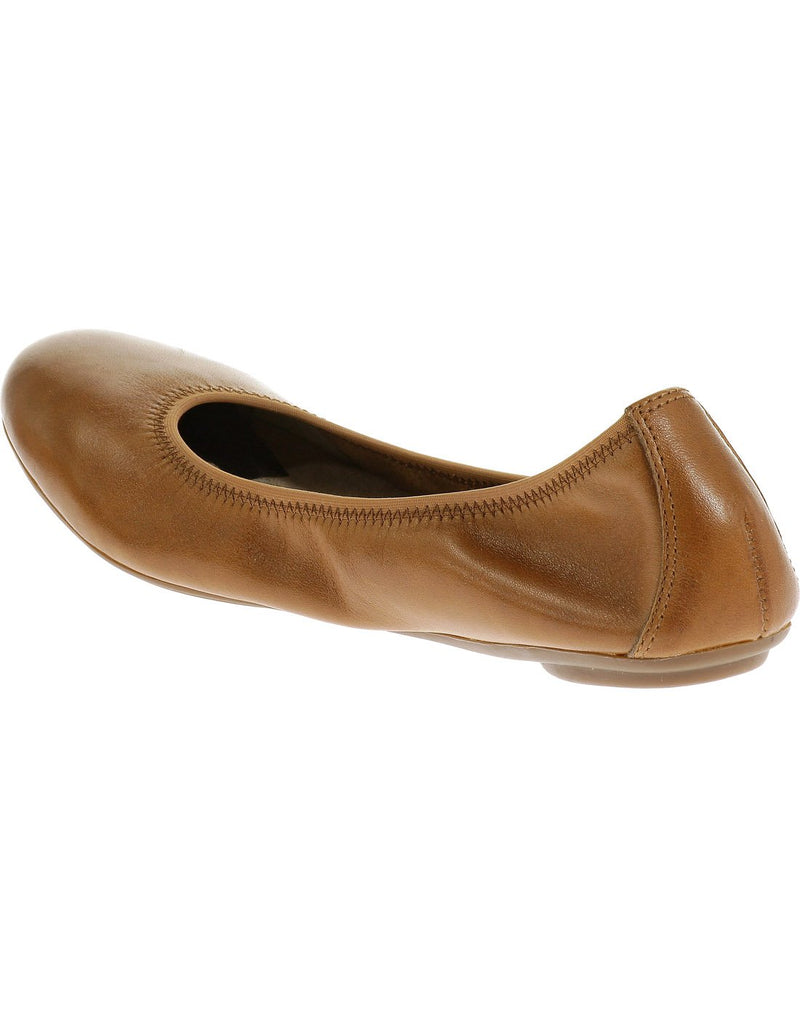 Hush puppies women's leather shoe cognac leather colour top left view